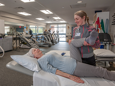 Physical therapist working with a patient