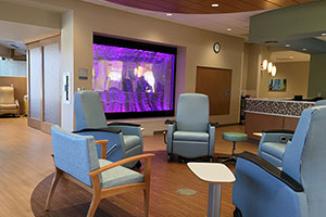 The infusion suite at the Cowell Family Cancer Center includes a bubble wall.