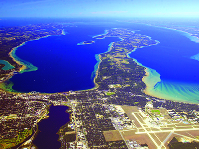 Aerial view of Traverse City, Michigan