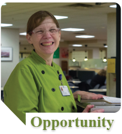 Lisa works in the Food and Nutrition Dept. at Munson Medical Center