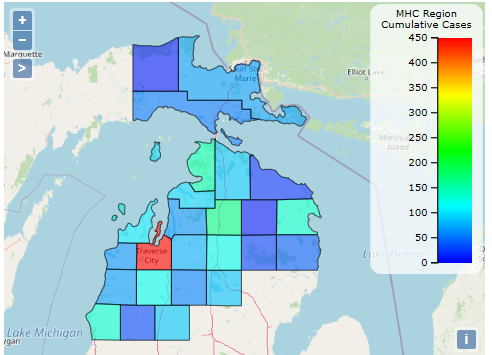 Map of COVID-19 Cases for norther Michigan | Munson Healthcare