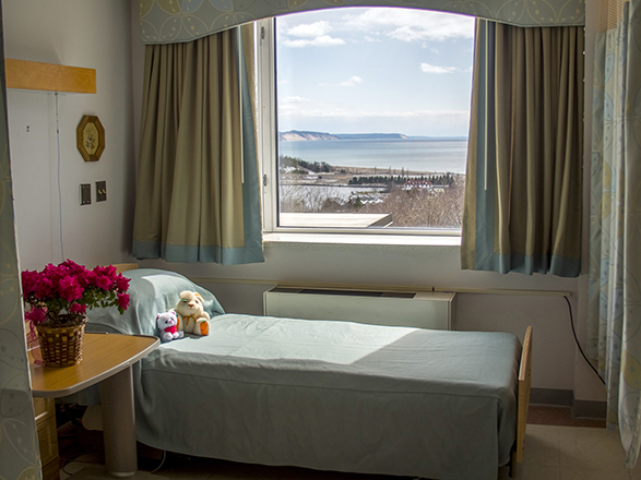 Several Patient rooms have great views, including this one of Lake Michigan.