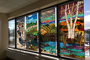 Meditation room with stainglass windows at the Cowell Family Cancer Center